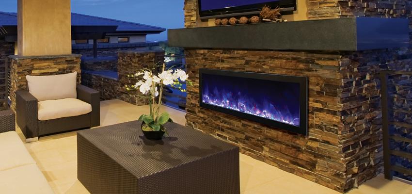 AMANTII Bi 72 Slim Electric Indoor/Outdoor Fireplace | Hearth ...